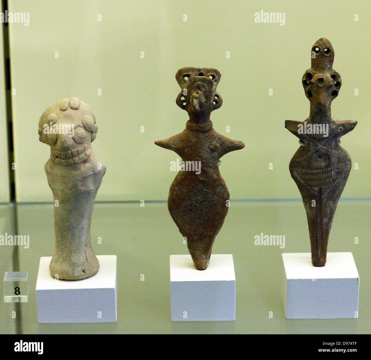 Terracotta figurines of women with stubby arms. Sam'al/Zincirli in Turkey (reconstruction) Erected and rebuilt during Stock Photo