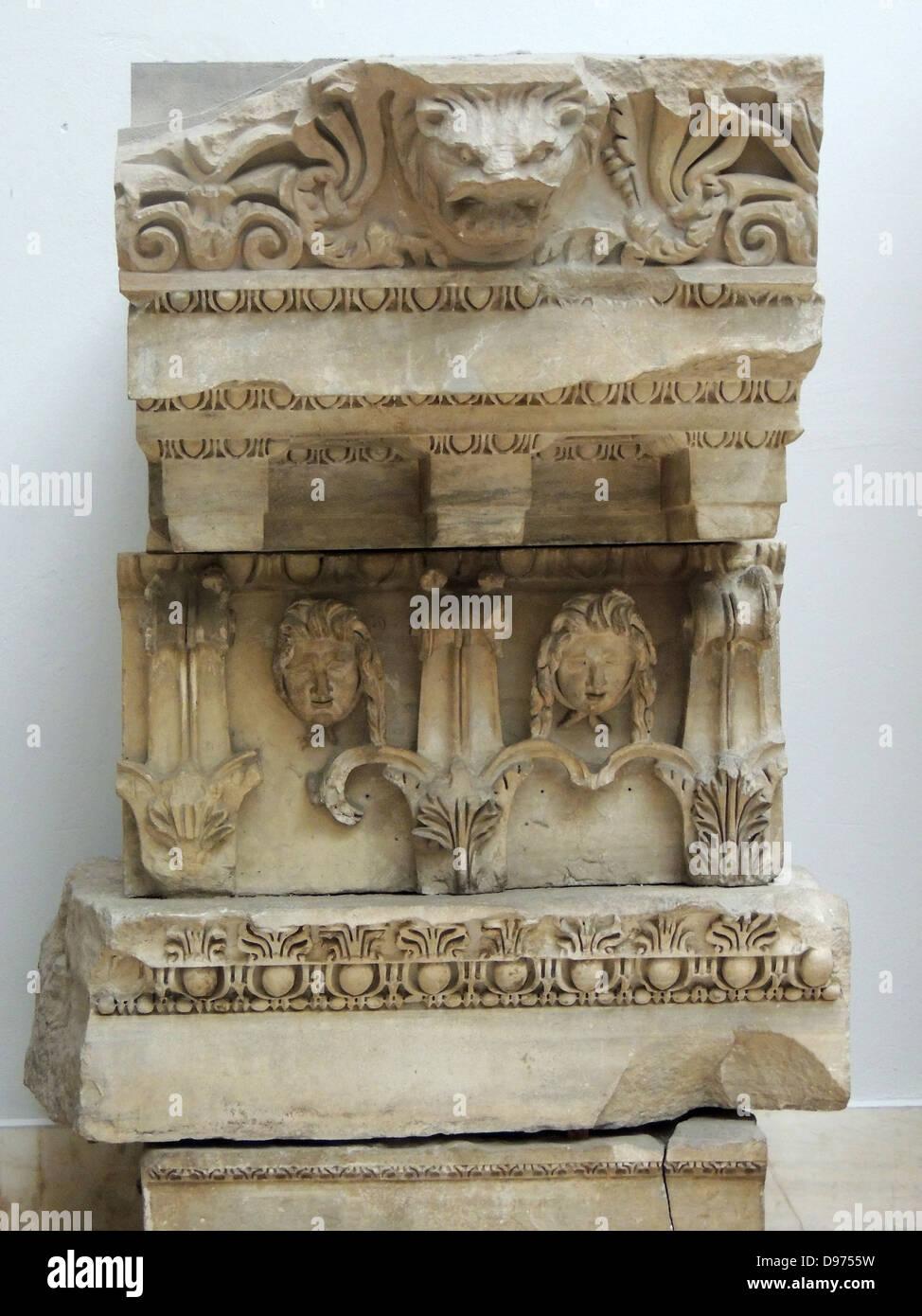 Temple of Zeus Philios (Trajaneum) Entablature marble, ca 115-130 AD. - Stock Image