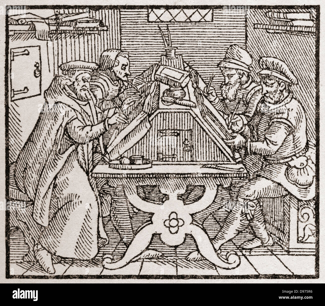 Scribes at work during the Tudor period in England. From a contemporary print. - Stock Image