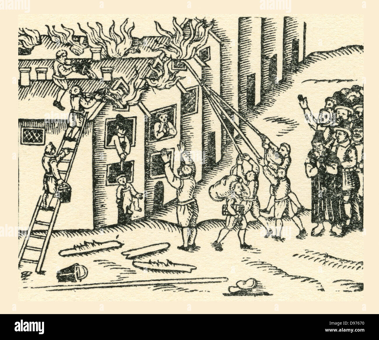 A 16th century fire brigade at work.  From a contemporary print. - Stock Image