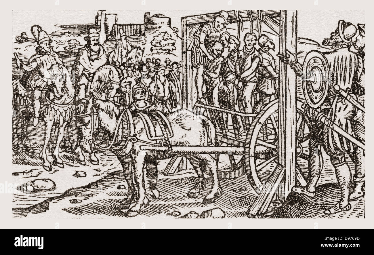 A public hanging during the Tudor period in England. From a contemporary print. - Stock Image