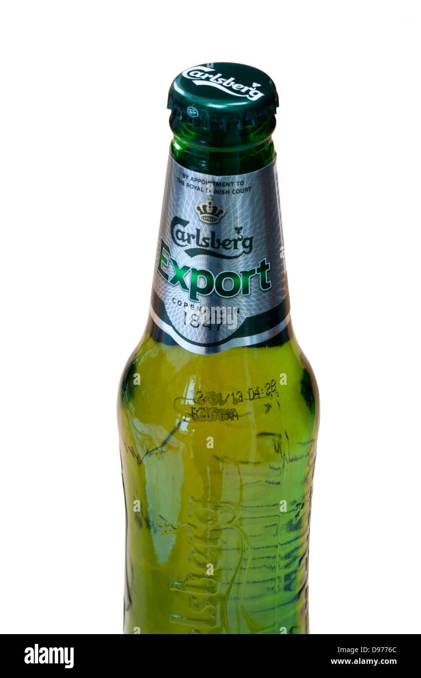 Bottle Of Carlsberg Export Beer - Stock Image