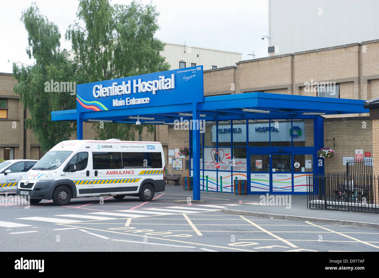 Leicester, UK. 13th June 2013. Leicester's Glenfield Hospital main Entrance.  Children's cardiac surgery - Stock Image