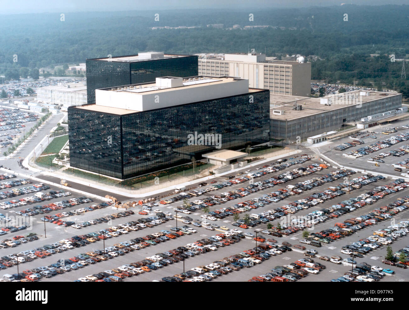 Aerial view of the headquarters of the National Security Agency or NSA in Fort Meade, MD. - Stock Image