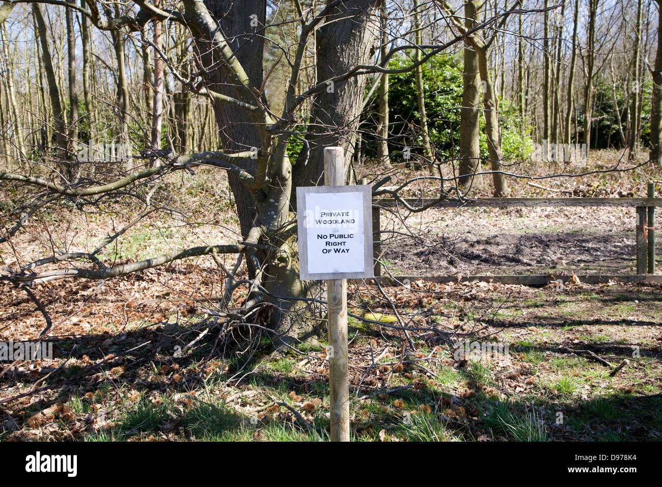 Sign for private woodland with no public right of way, Sutton, Suffolk, England - Stock Image