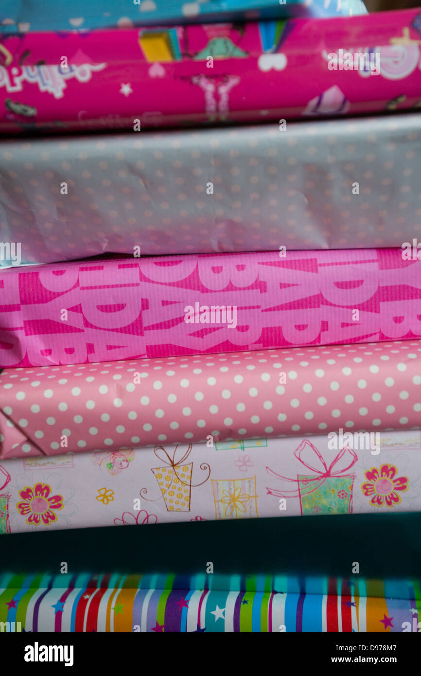 A Pile Of Girls Wrapped Birthday Presents Stock Photo