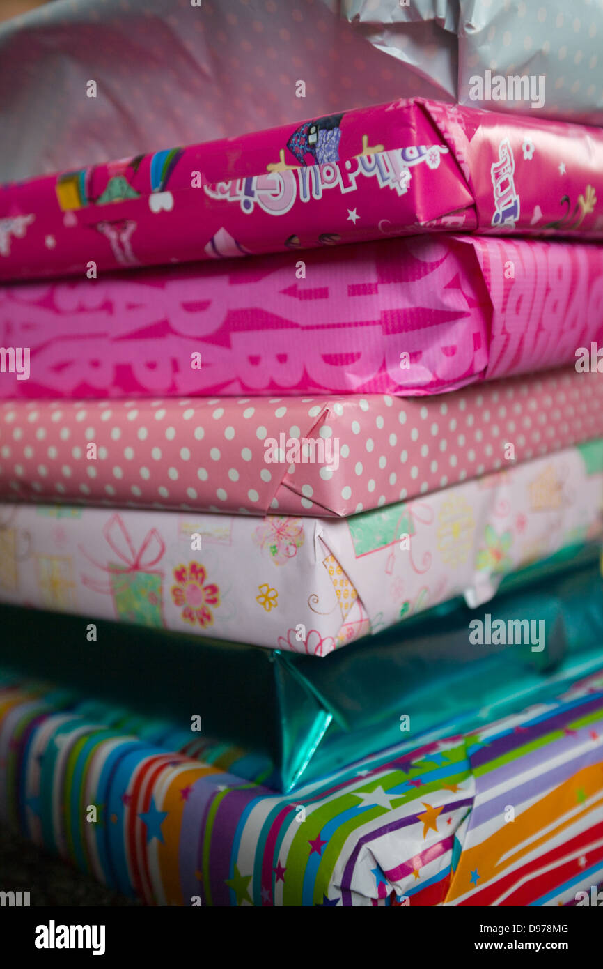 a pile of girls wrapped birthday presents stock photo 57323520 alamy