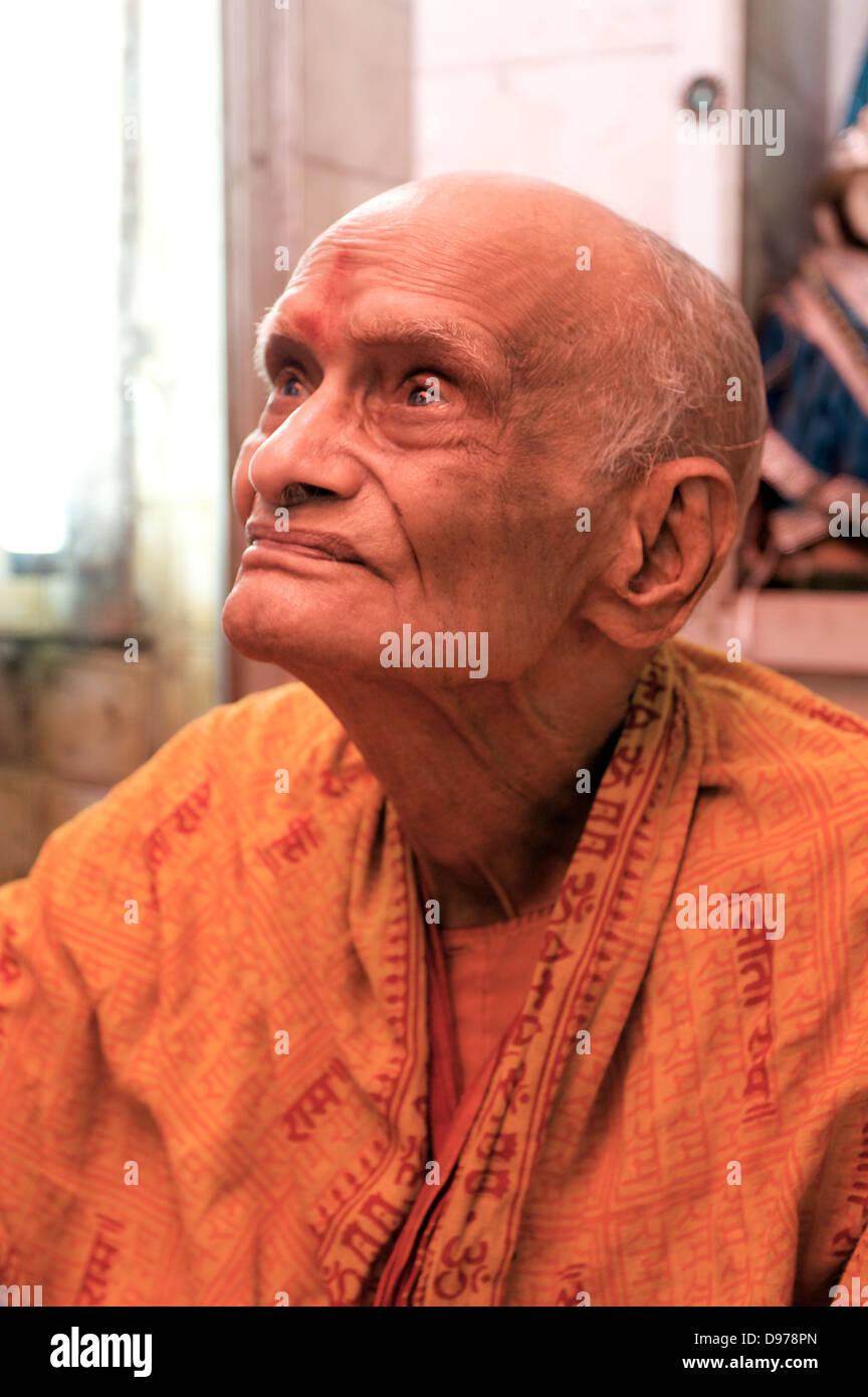 Hindu holy man in Old Delhi India - Stock Image