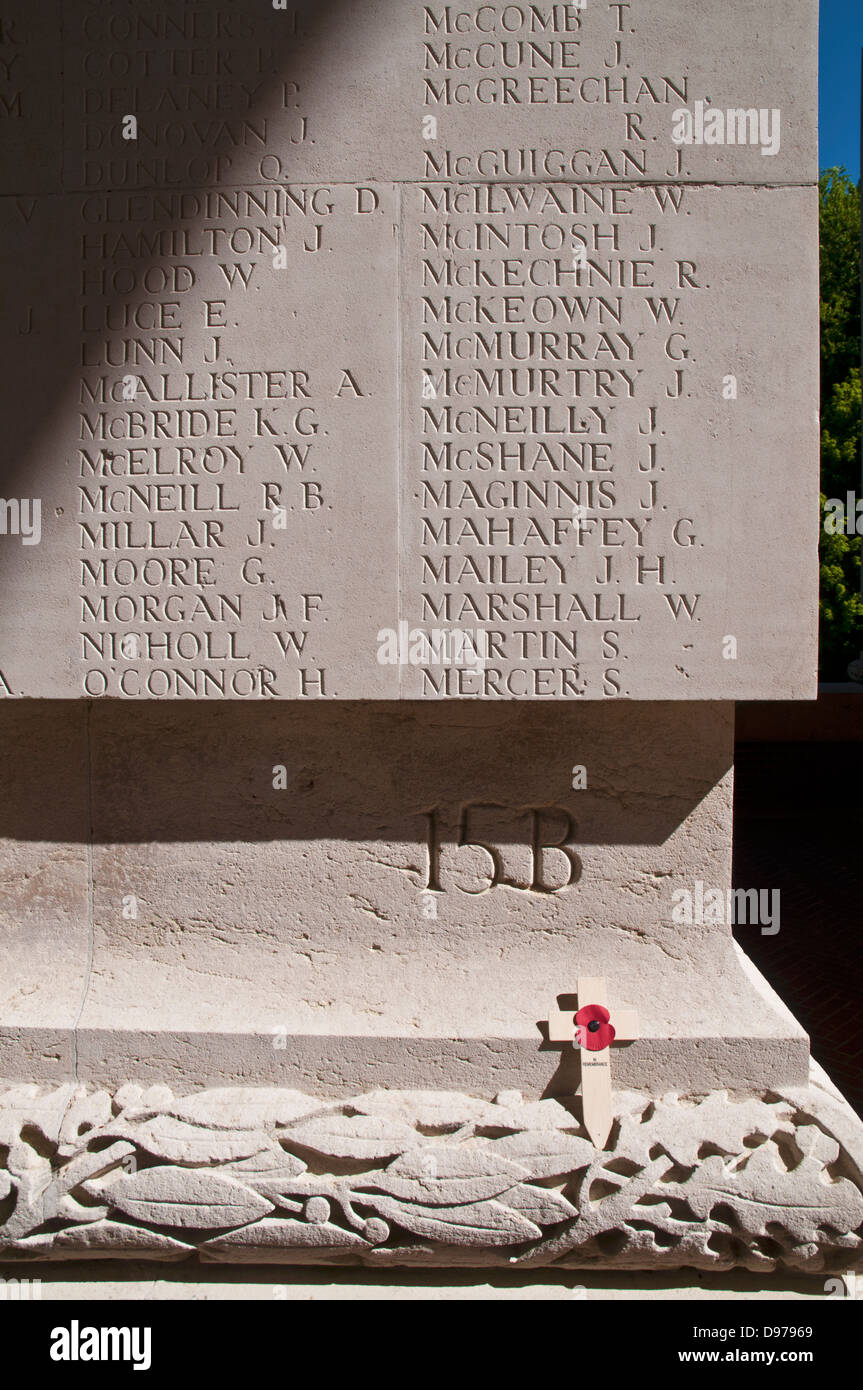 Names of the Missing Of The Somme on the Thiepval Memorial, Somme Region, Picardy, France - Stock Image