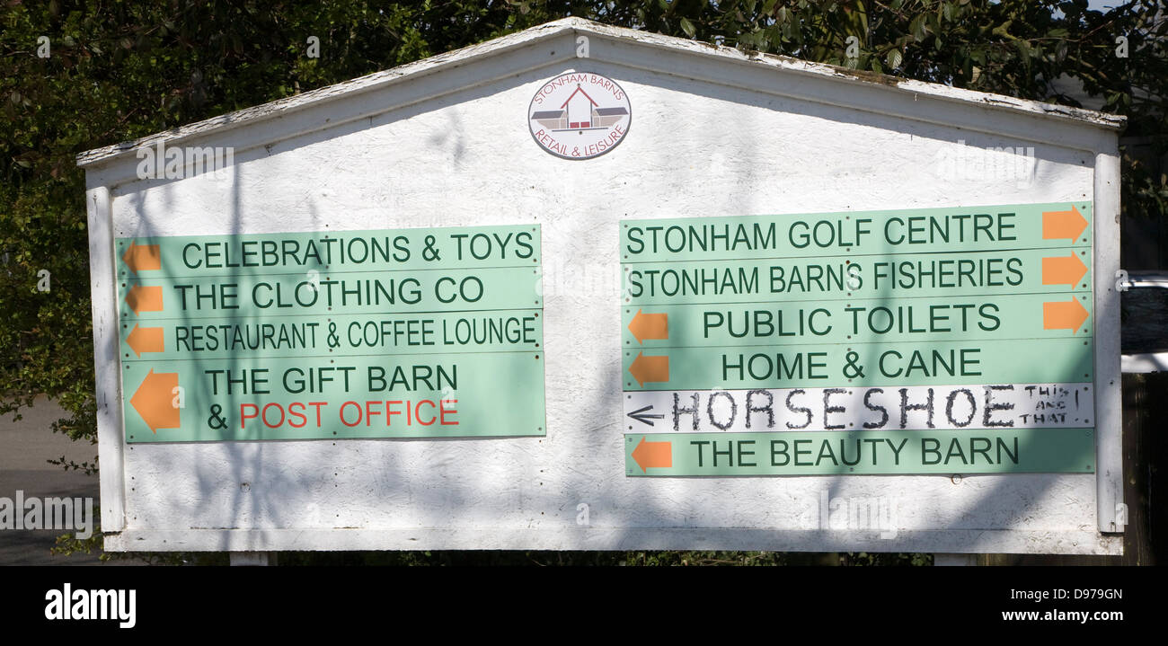 Signs for retail and leisure activities at Stonham Barns, Suffolk, England - Stock Image