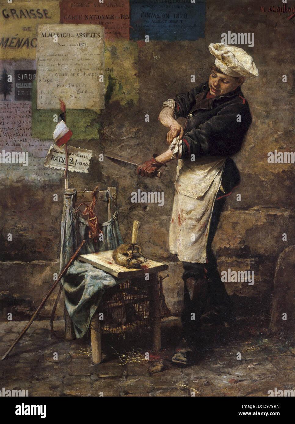 Narcisse Chaillou The Rat vendor during the Siege of Paris in 1870 1870 Carnavalet Museum - Paris - Stock Image