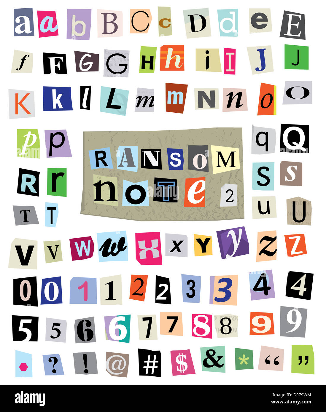 Cut Newspaper And Magazine Letters Numbers And Symbols Mixed