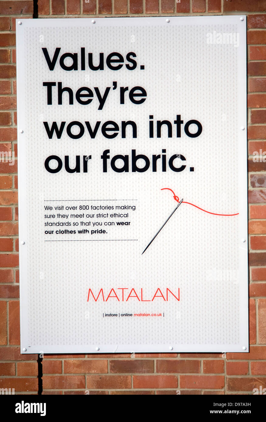 Matalan clothing company ethical standards values statement poster - Stock Image