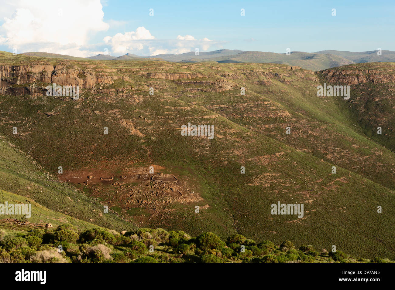 Remote rural subsistence farm on steep mountain slopes in Lesotho, Africa - Stock Image