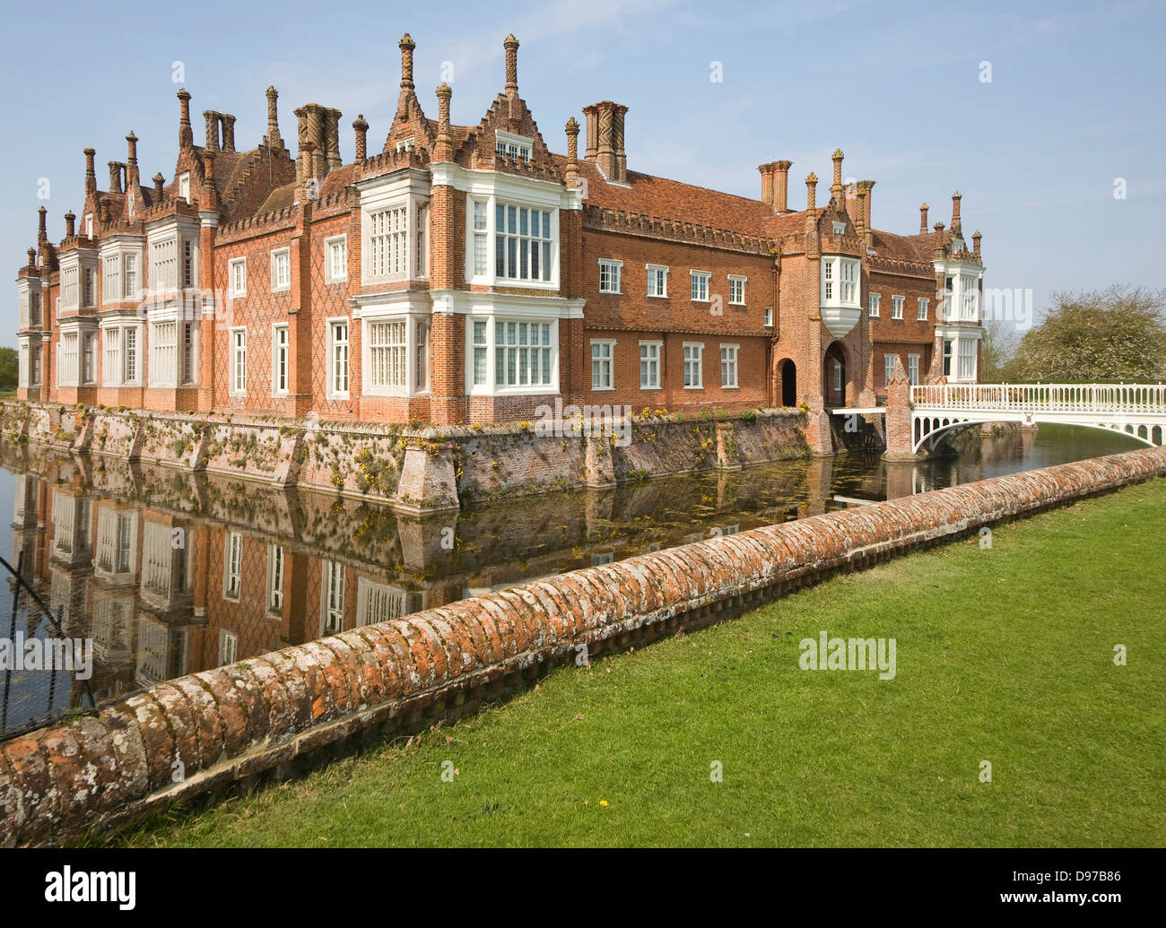 Historic moated house Helmingham Hall Suffolk England - Stock Image