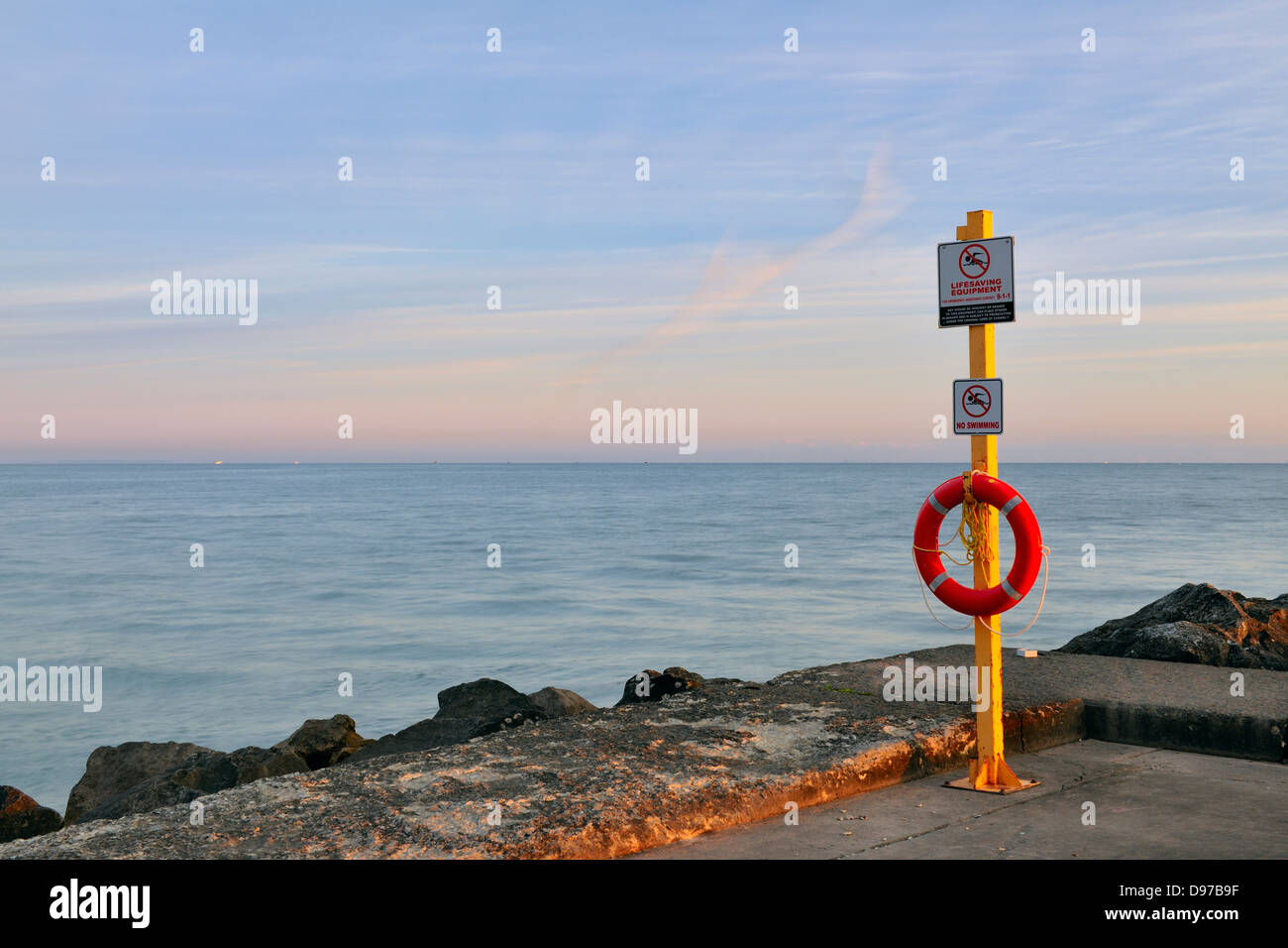 Safety equipment on the Port Dalhousie Pier Port Dalhousie Ontario Canada - Stock Image