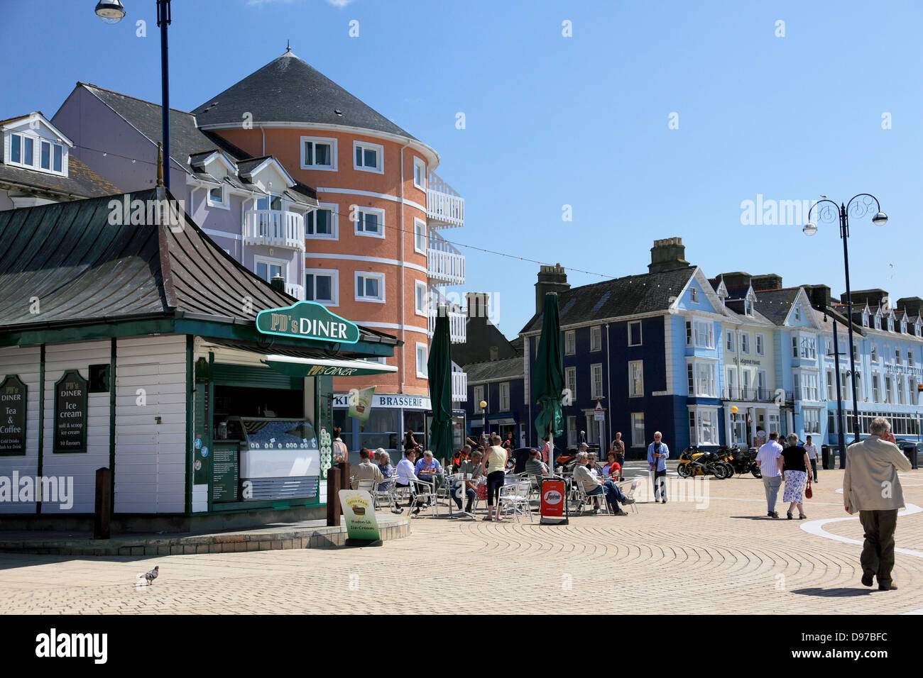 The Promenade and a Diner next to the seafront and near Llys Y Brenin square at Aberystwyth on the west coast of - Stock Image