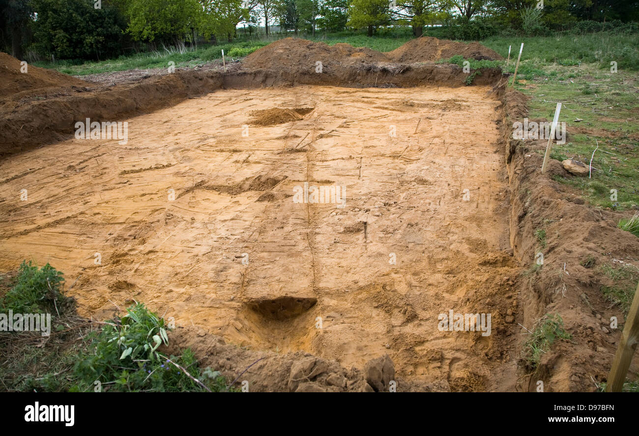 Archaeologists discover prehistoric field boundary ditch during excavation on new building plot, Shottisham, Suffolk, - Stock Image