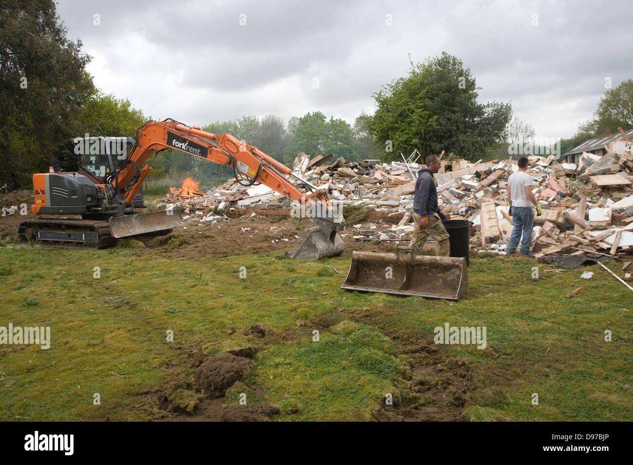 House being demolished, Shottisham, Suffolk, England - Stock Image