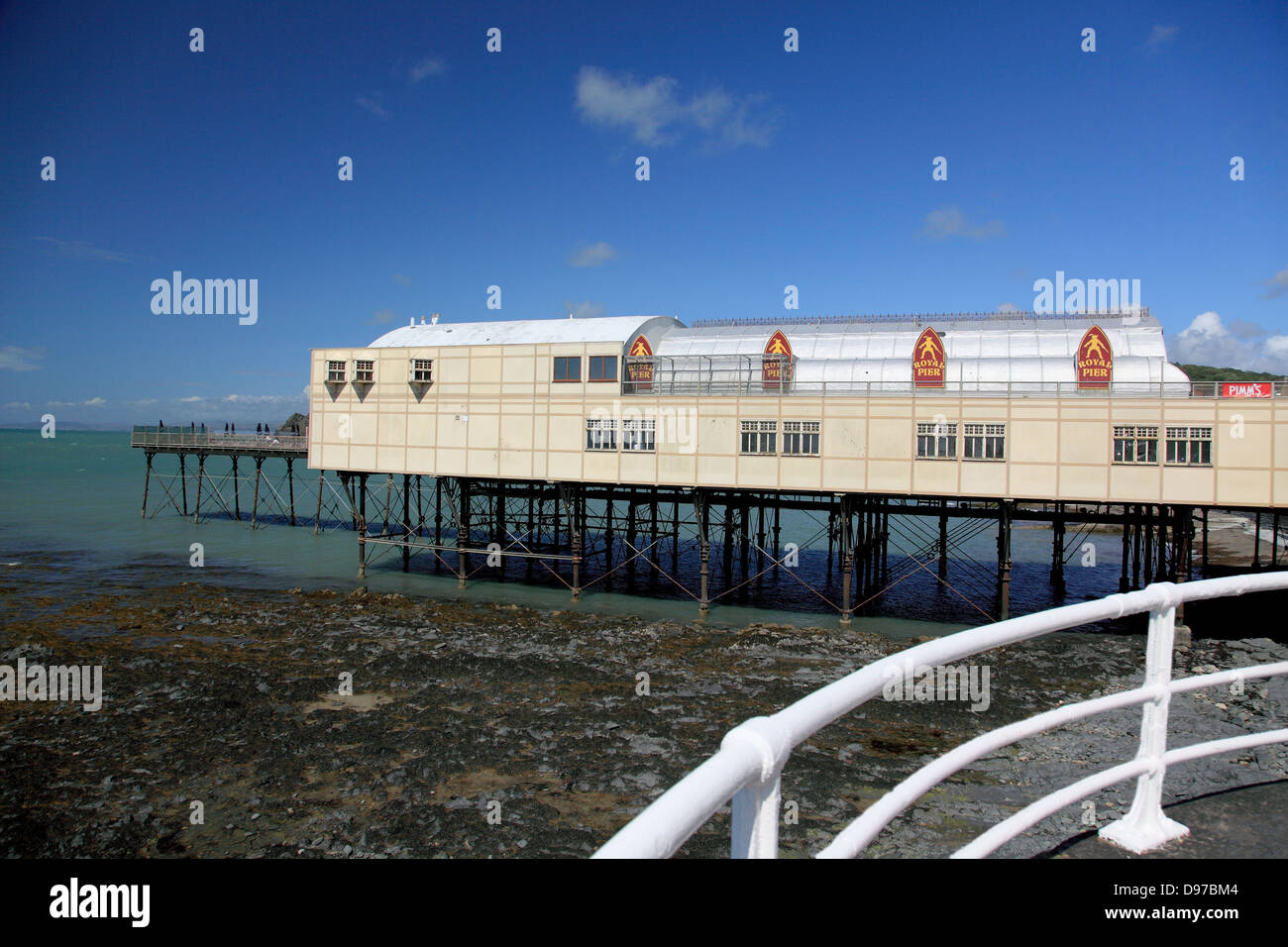 The Pier at Aberystwyth built in 1865 but much shortened by storm damage. - Stock Image