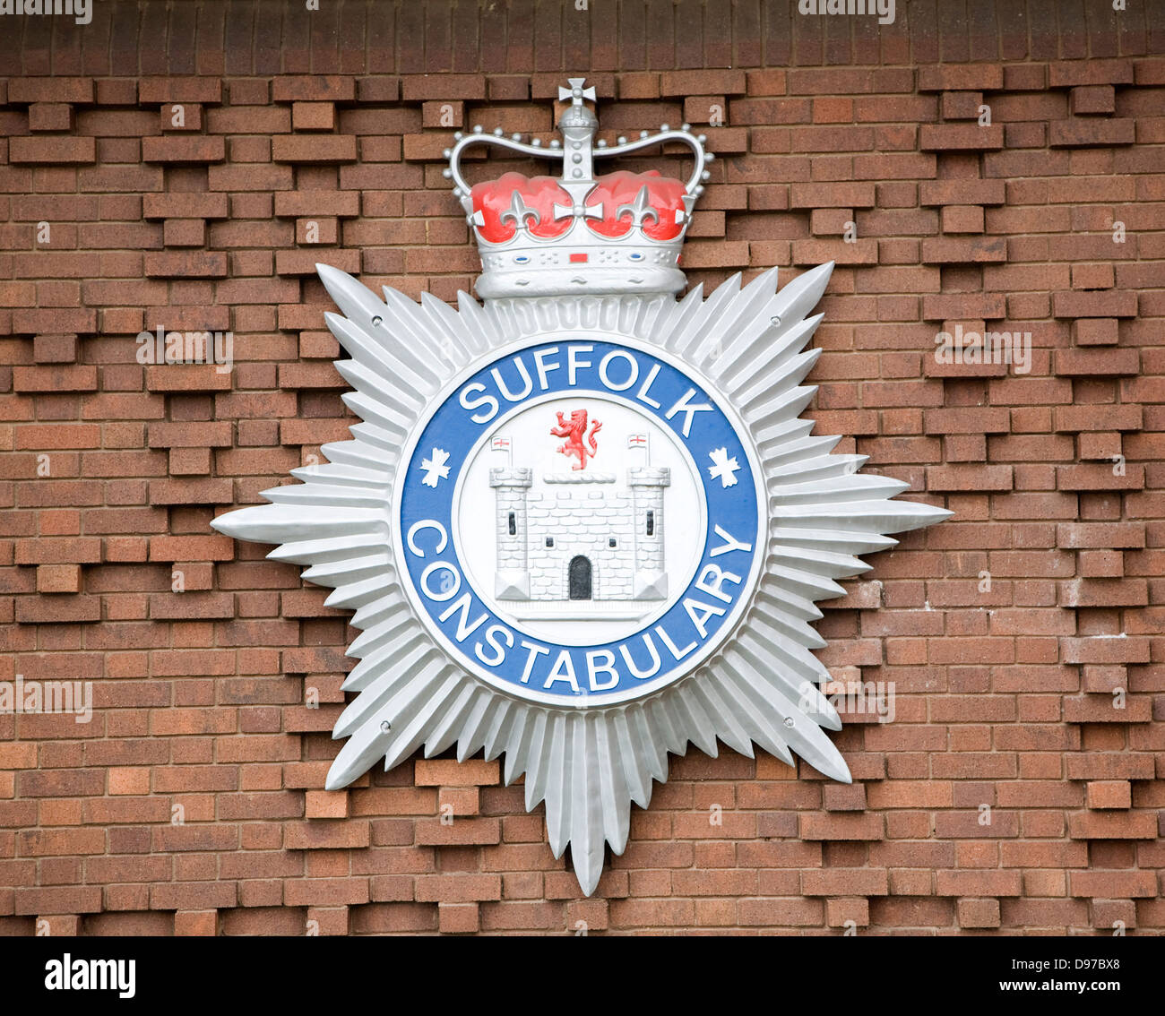 Close up detail of badge logo for Suffolk Constabulary, England - Stock Image