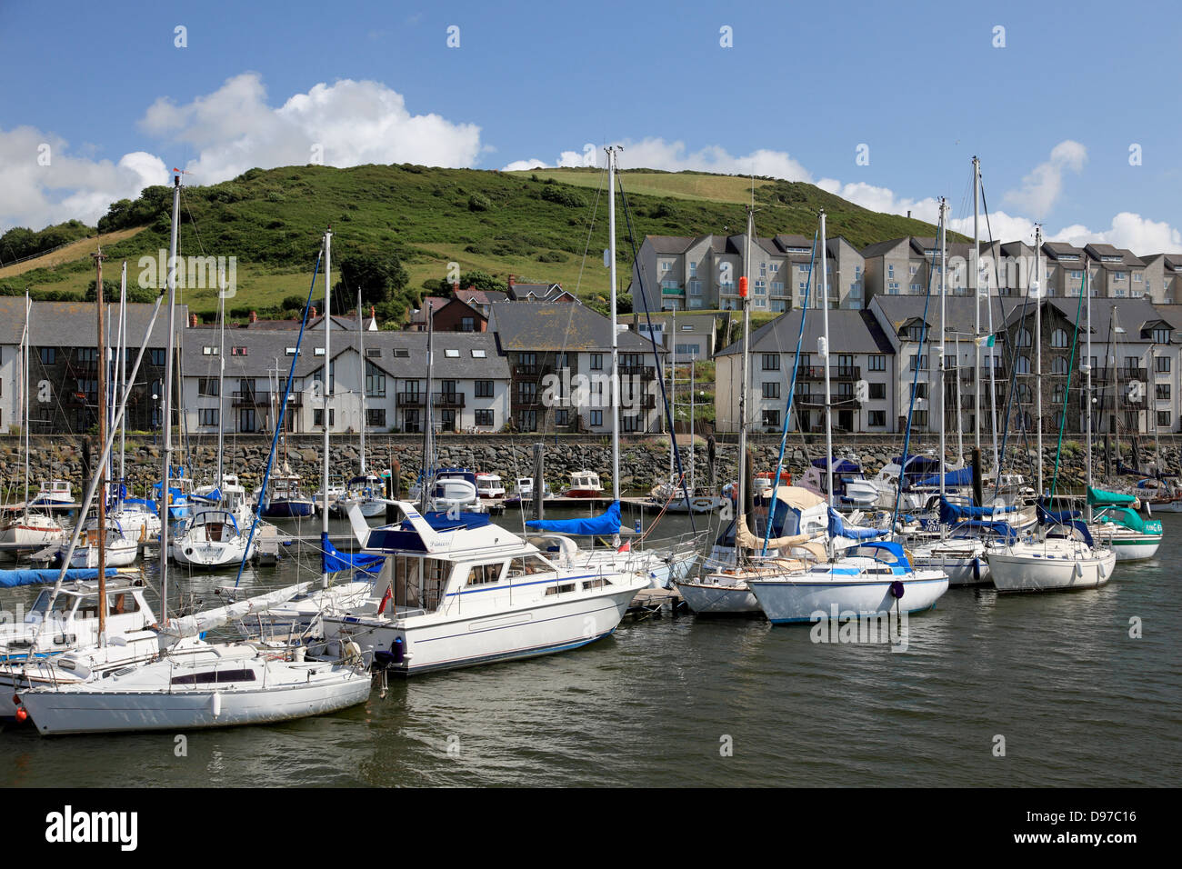 The Marina at Aberystwyth with Pendinas hill in the background - Stock Image