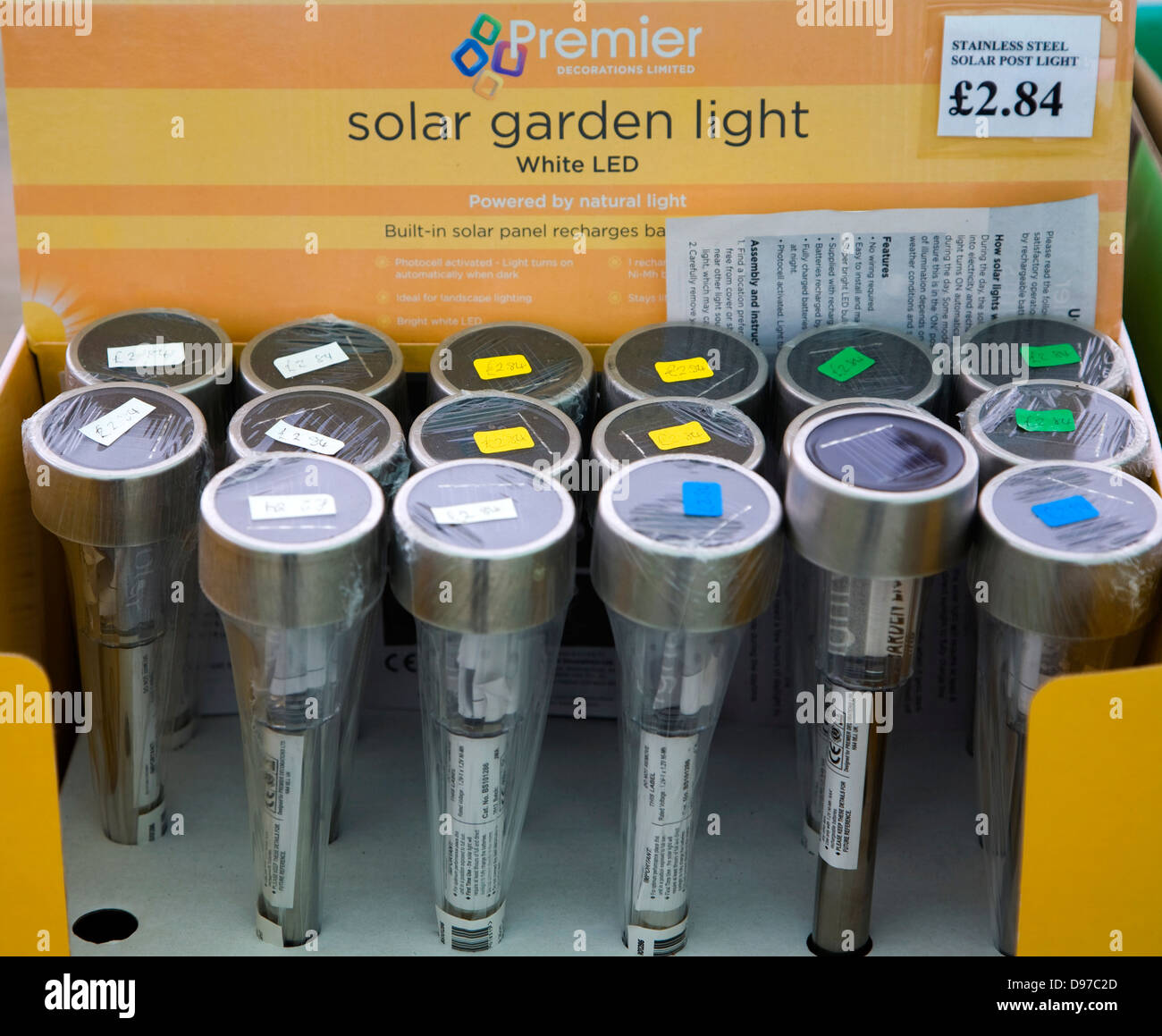 Display of solar garden lights, UK - Stock Image