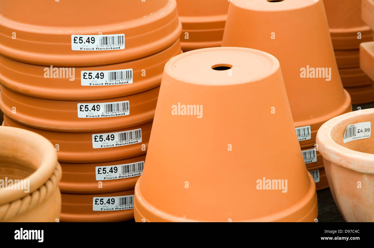 Clay pots piled up on sale - Stock Image