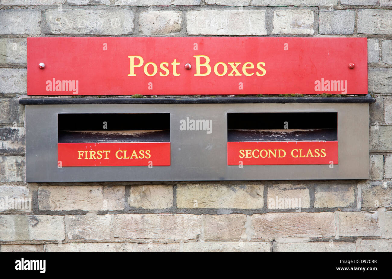 Post boxes for posting first and second class mail, UK - Stock Image