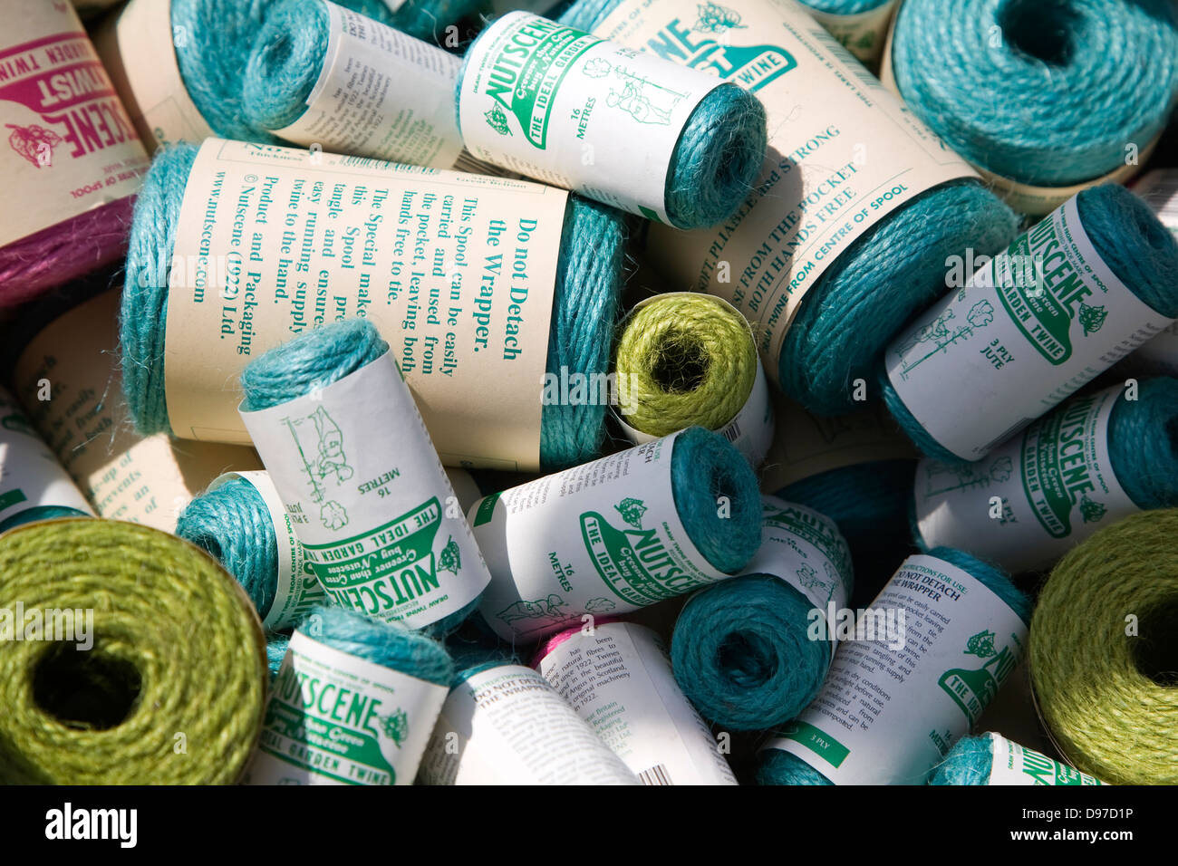 Close up wrapped bundles of garden twine - Stock Image