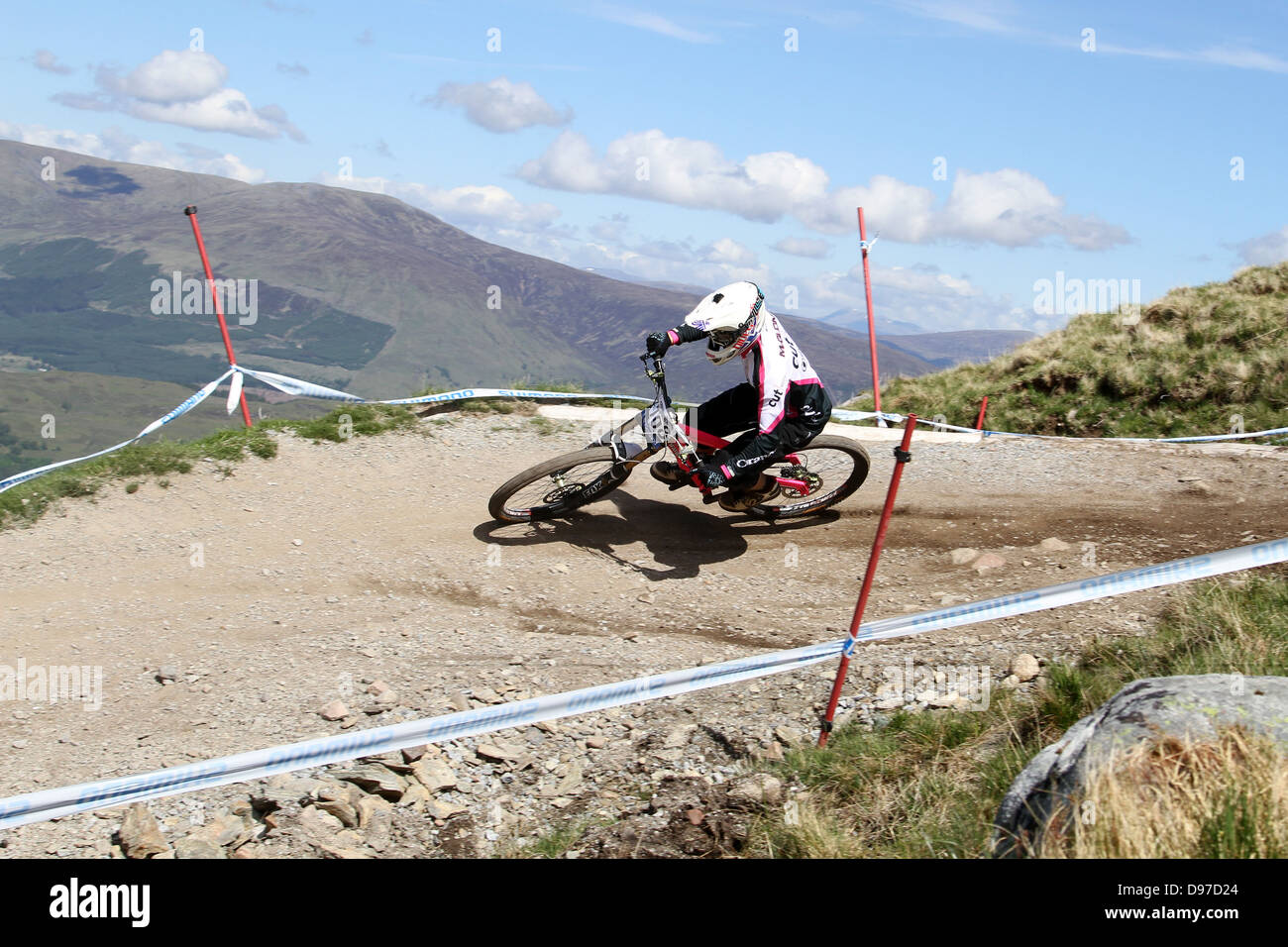 Fraser McGlone MTB Cut on the course at the World Cup Downhill, Fort William 2013 - Stock Image