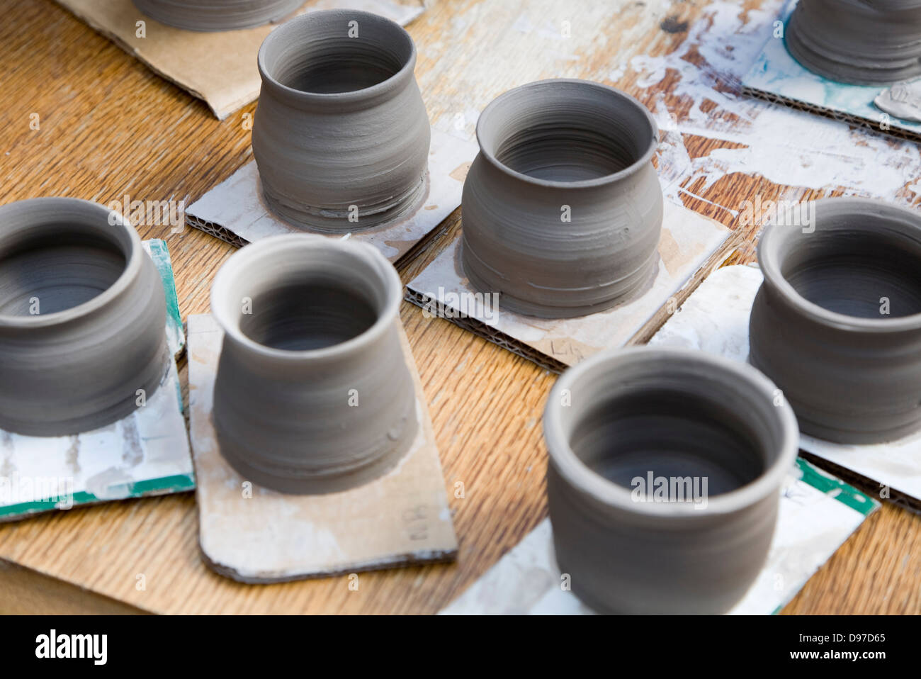 Pottery making display at country craft event, Shottisham, Suffolk, England - Stock Image