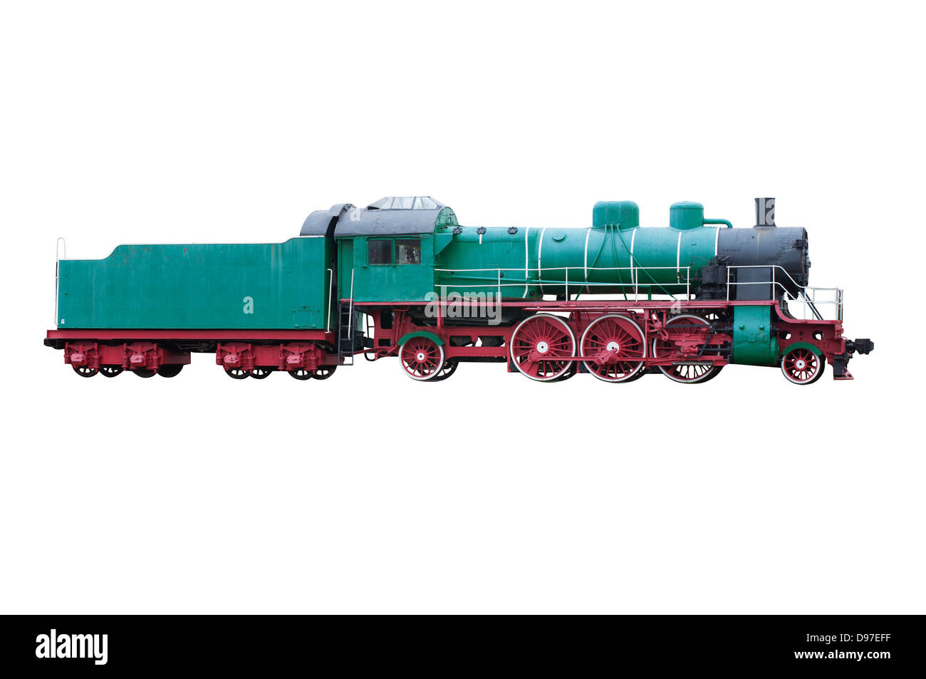 Old steam locomotive, side view (isolated) - Stock Image