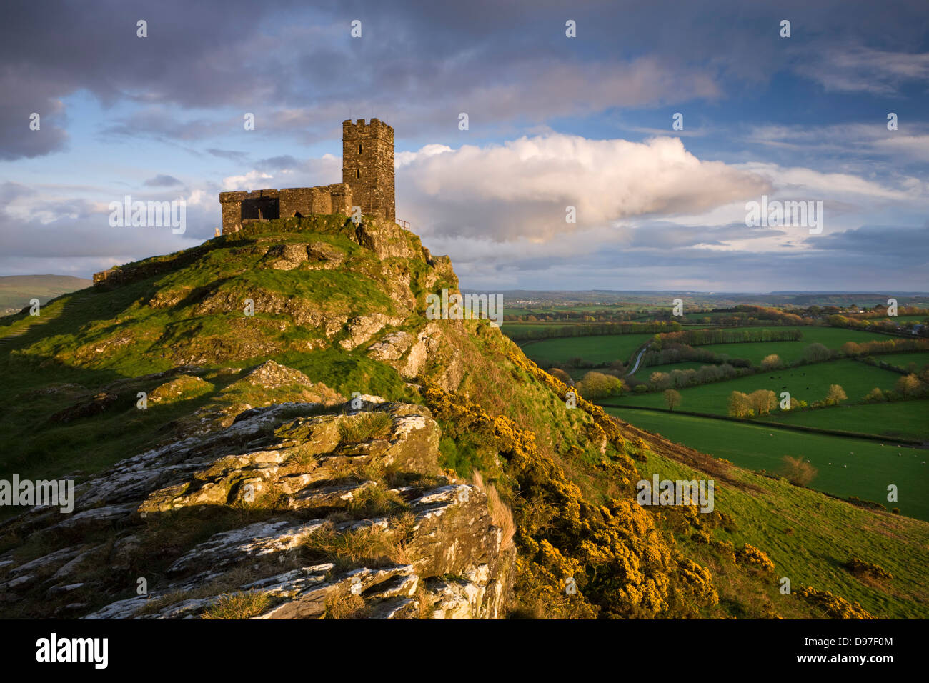 Brentor Church, high on a Dartmoor outcrop, Devon, England. Spring (April) 2009. - Stock Image