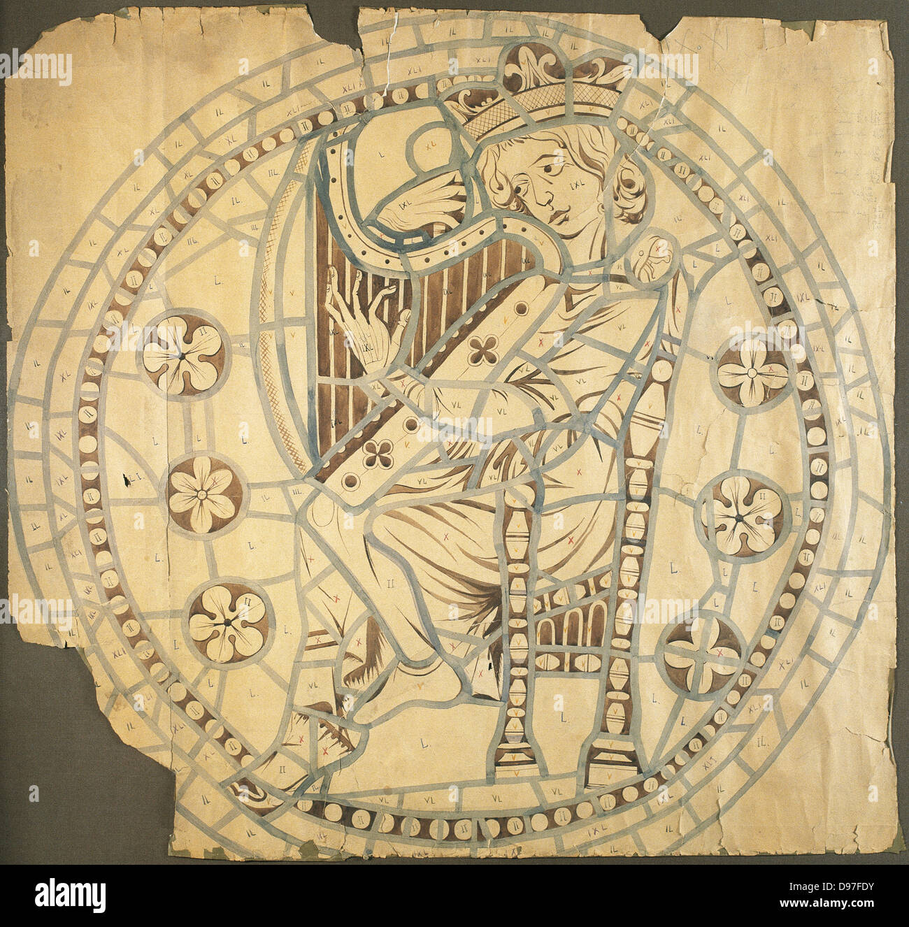 King David. Drawing for the rose window of the Cathedral of Leon. 14th century. Paper, gouache. - Stock Image