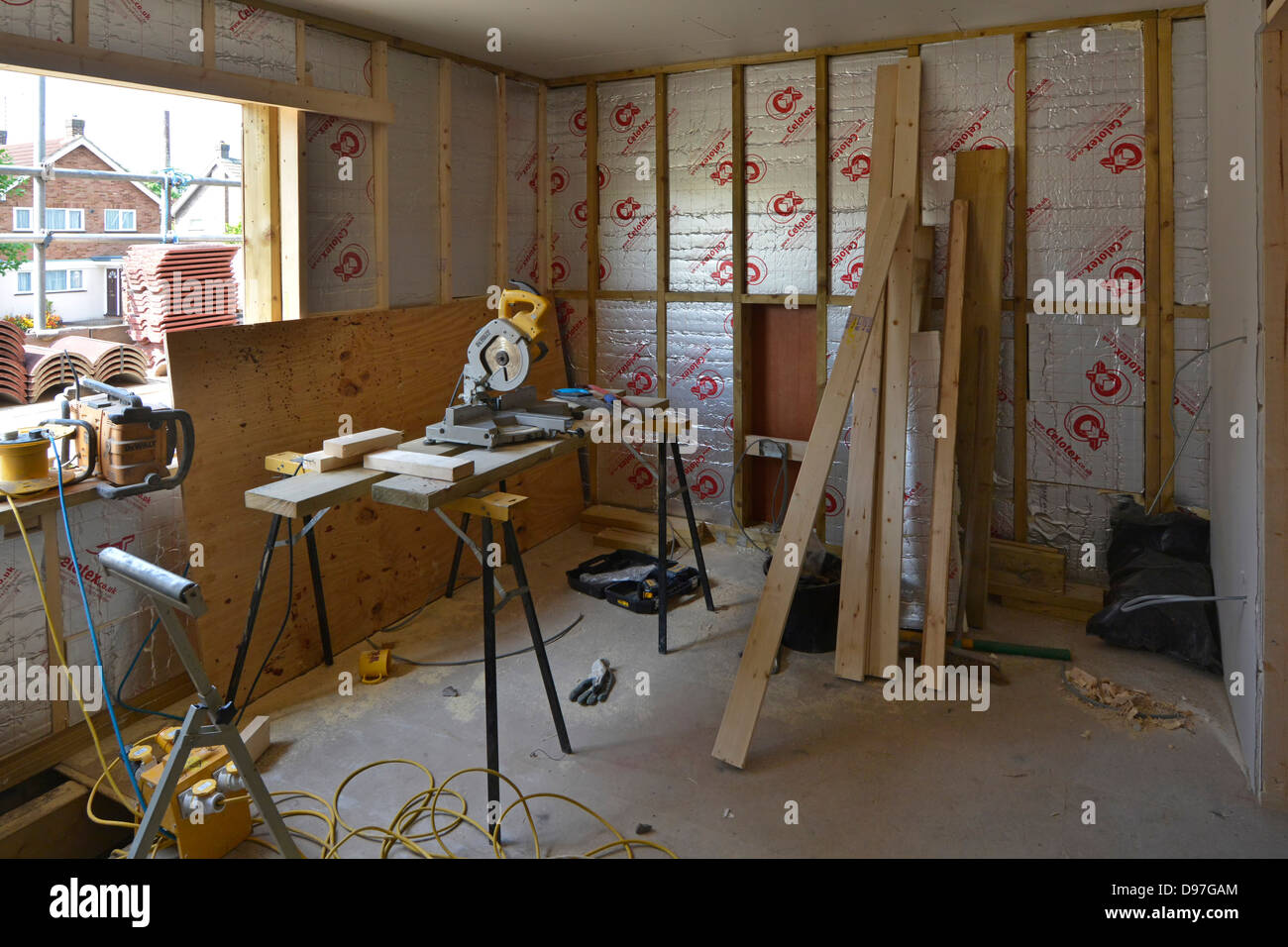 Building construction work in progress to interior of bedroom extension to detached house Essex England UK see 'More - Stock Image