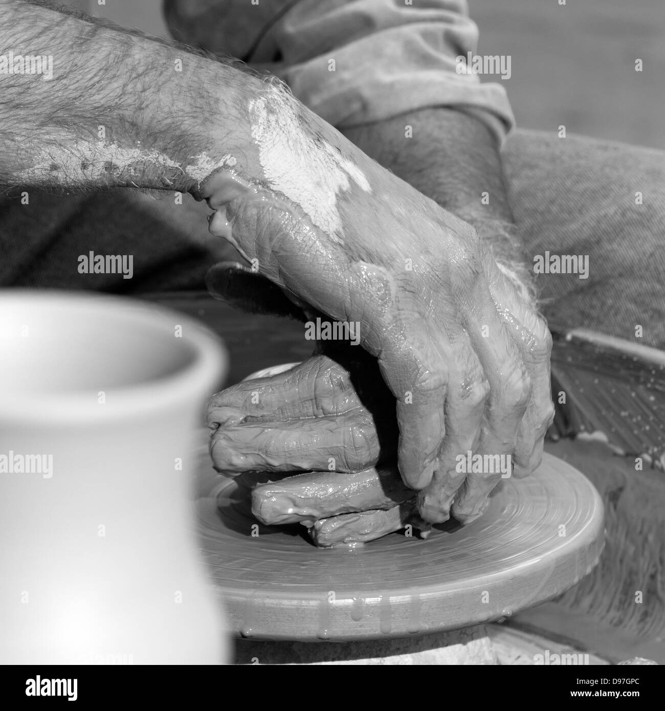 potter's hands - Stock Image
