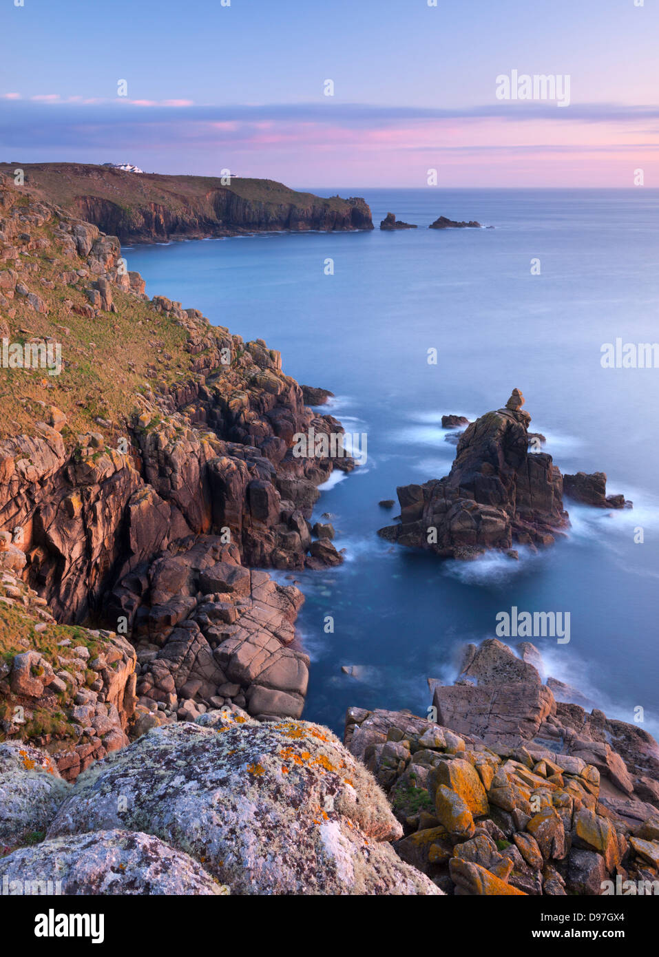 Looking towards Land's End from the cliffs above Sennen, Cornwall, England. Spring (May) 2012. - Stock Image