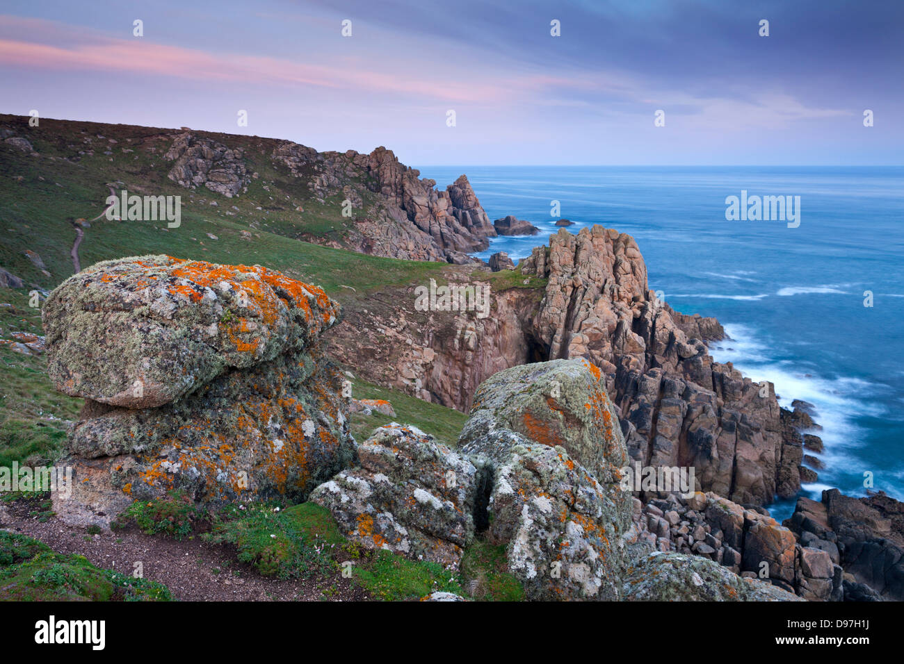 View from the coast path near Gwennap Head, Cornwall, England. Spring (May) 2012. - Stock Image