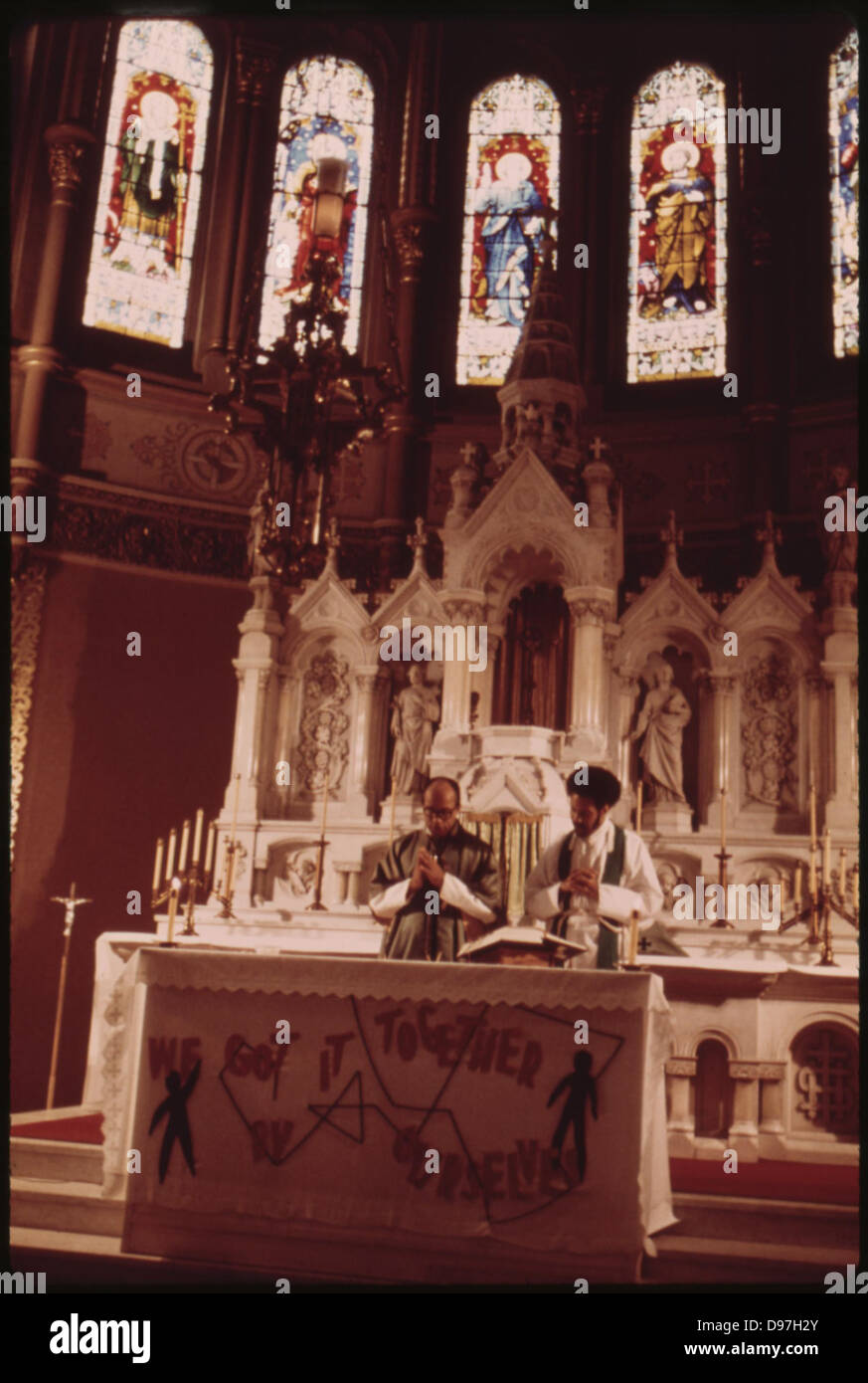 Holy Angel Catholic Church On Chicago's South Side. The Pastor Is Father George H Clements, (left) A Leader - Stock Image