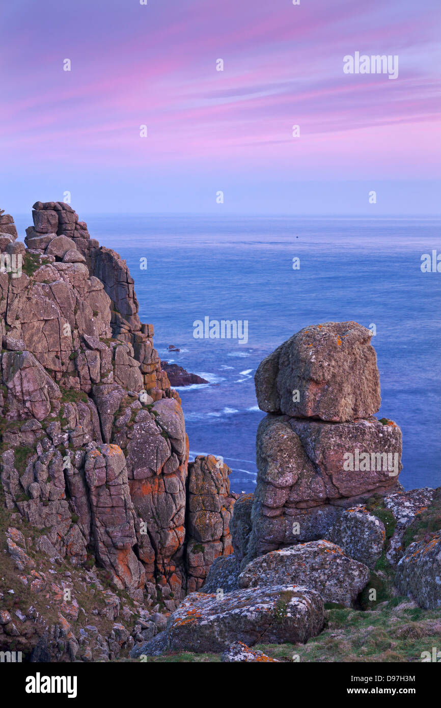 Towering granite cliffs at Gwennap Head near Land's End, Cornwall, England. Spring (May) 2012. - Stock Image