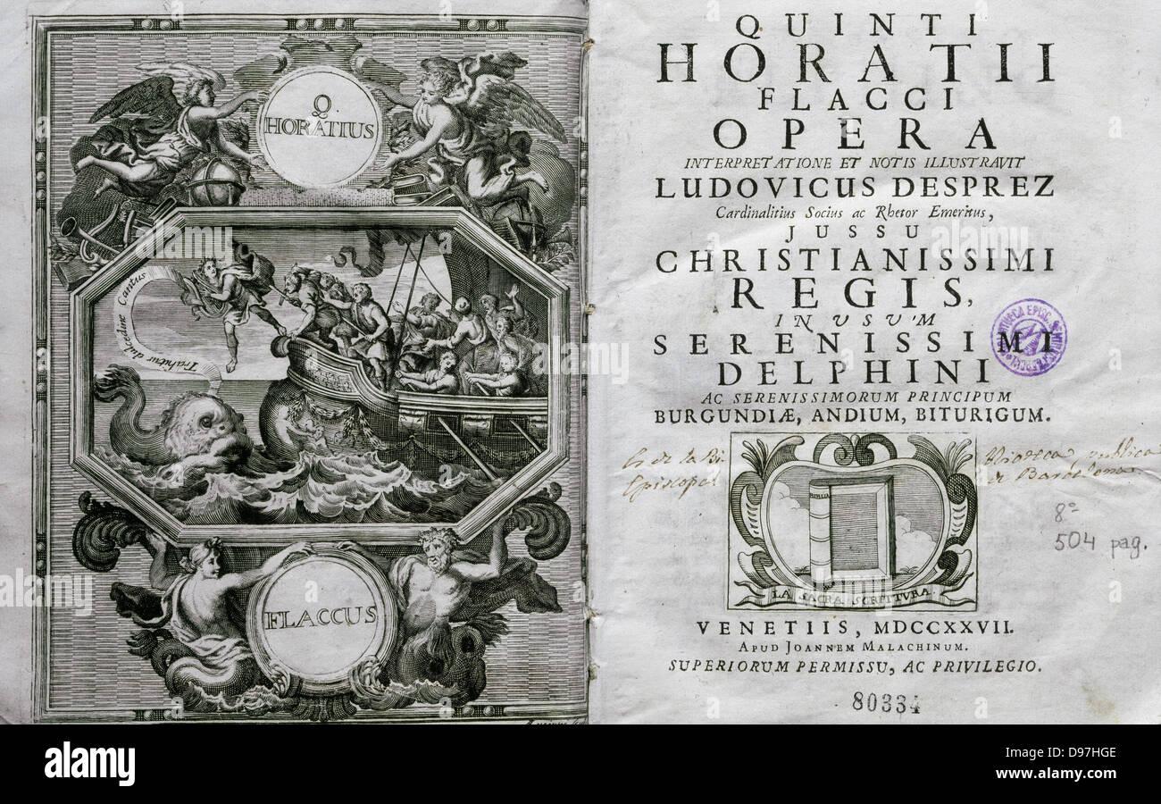 Quintus Horatius Flaccus (65 Bc-8 Bc). Known as Horace. Roman lyric poet. Opera. Ed. Venice, 1727. - Stock Image