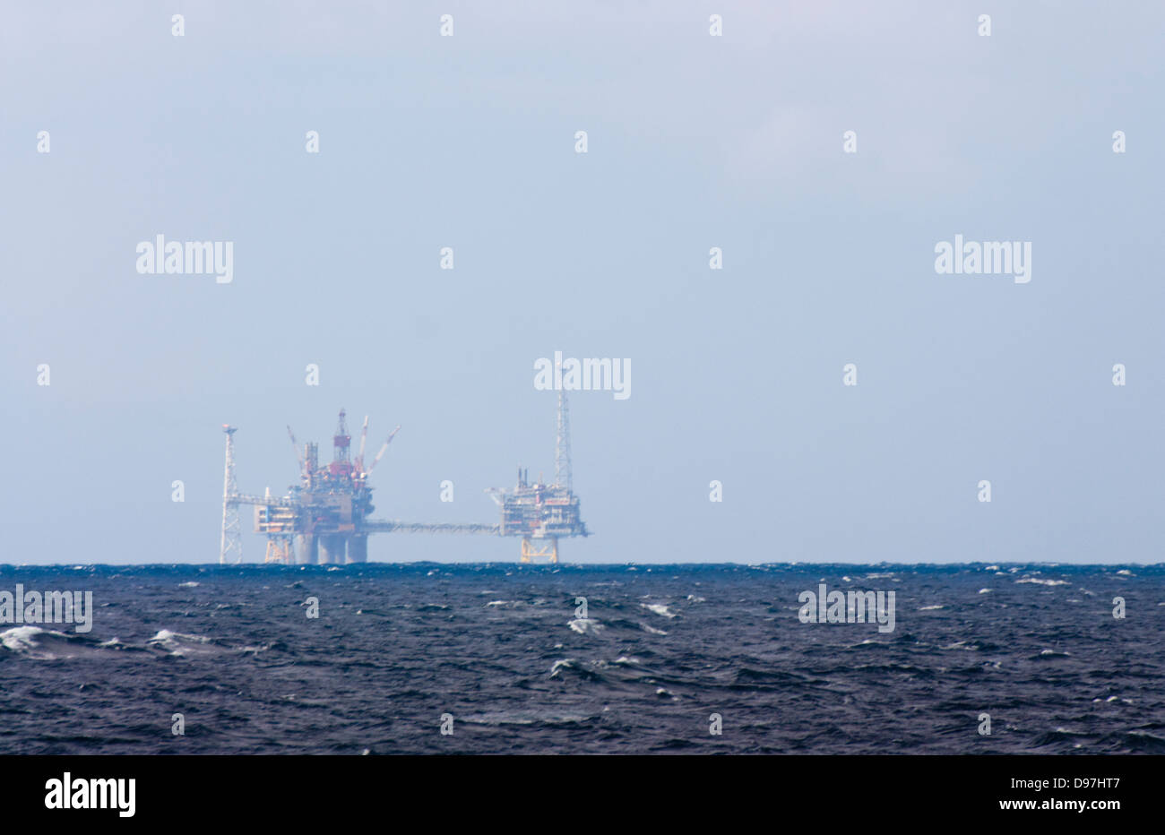 Off shore Oil drilling rig Open The North sea - Stock Image
