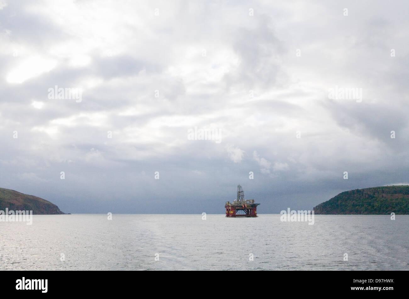 Oil drilling rig  Stena Don Semi submersible vessel Invergordon Cromarty Firth Stock Photo