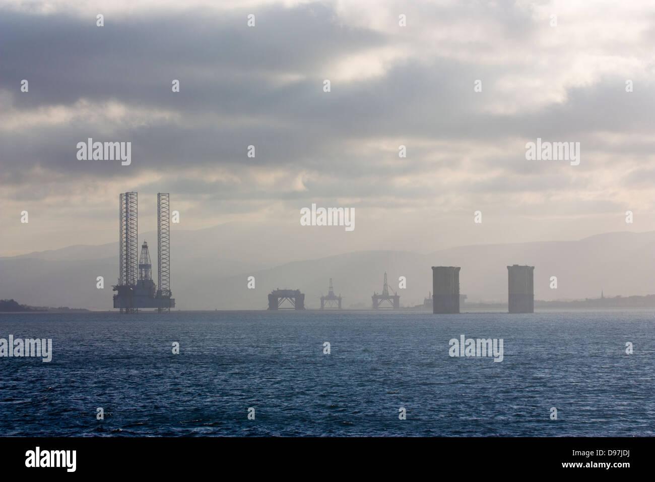 Oil drilling rigs Invergordon Cromarty Firth Stock Photo