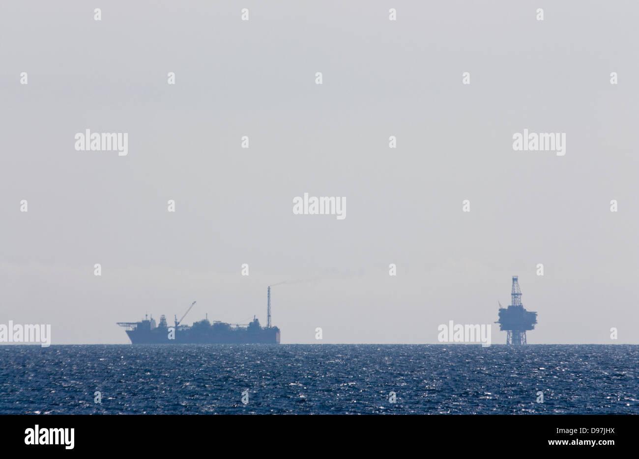 Oil drilling rig The North sea Off shore drilling - Stock Image