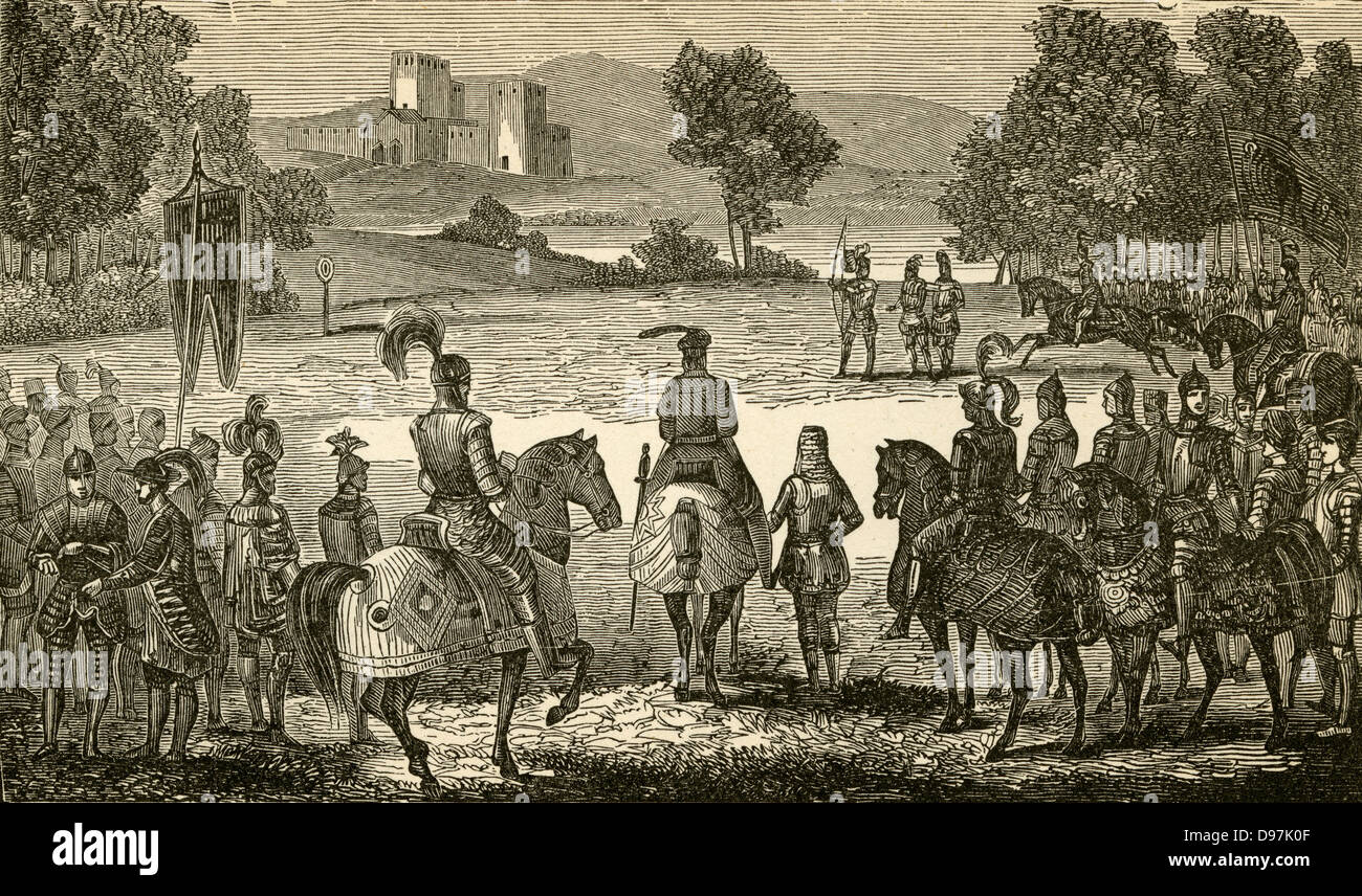 1900 engraving, William the Conqueror (holding bow) receives Tostig. - Stock Image