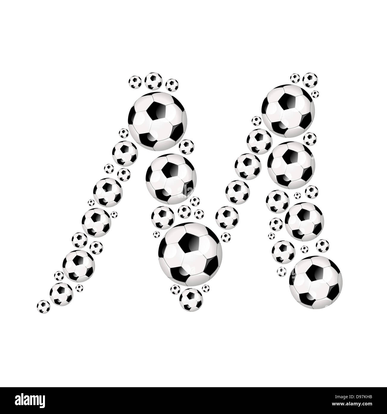 Soccer Alphabet Capital Letter M Illustration Icon With Or Footballs