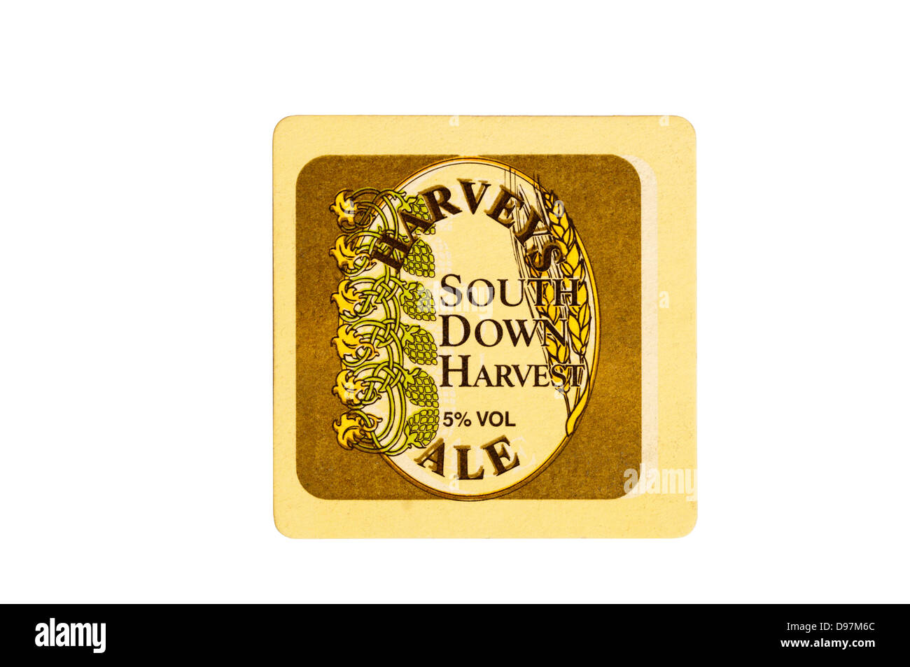 Harvey's South Down Harvest Ale beer mat. Stock Photo