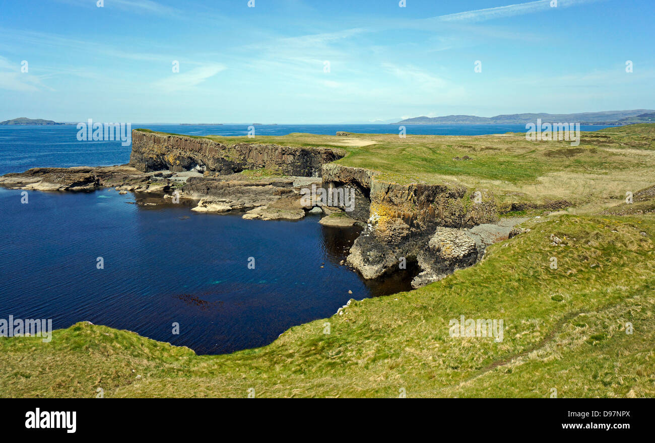 Western seaboard of the Isle of Staffa in Inner Hebrides Scotland - Stock Image